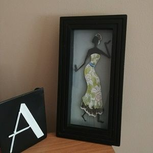 Other - Framed Wall Art Dancing Woman Floral & Black